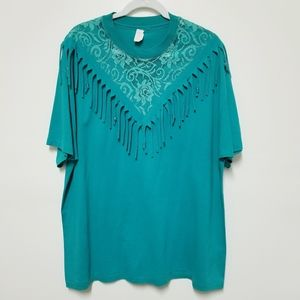 Vintage Fringed Tee Shirt Size 2XL